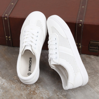 Korean-style white female Plus-sized breathable casual shoes white shoes (White)