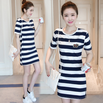 Korean-style women loose in the long section striped dress (5820 white and blue striped)