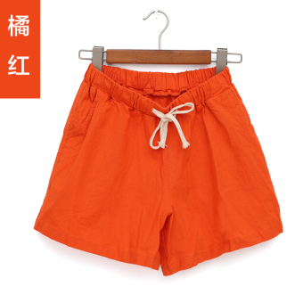 LOOESN casual female New style word shorts cotton linen shorts (Orange color)