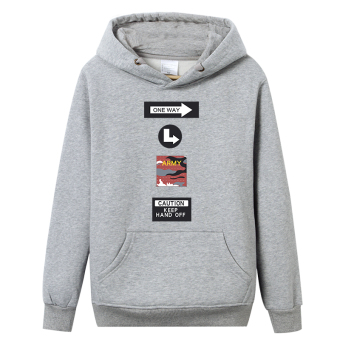 LOOESN Korean-style men hooded student pullover hoodie (Curled wool go gray)