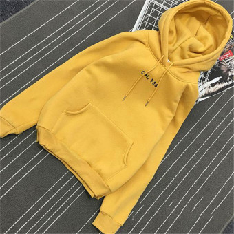 LOOESN Korean-style Plus velvet female student women's jacket New style hooded hoodie (Yellow)