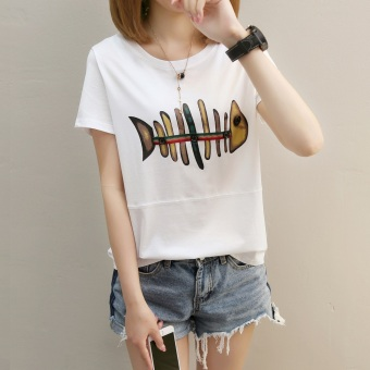 LOOESN Korean-style short sleeved t-shirt New style Top (271 (white))