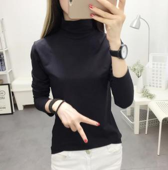LOOESN Korean-style solid color female long-sleeved New style Top T-shirt (Black)