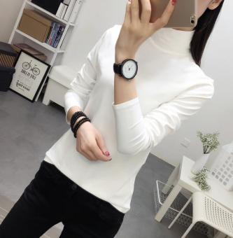 LOOESN Korean-style solid color female long-sleeved New style Top T-shirt (White)
