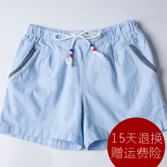 LOOESN linen female versatile casual pants shorts (Light blue)