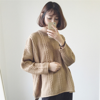 LOOESN solid color autumn New style long-sleeved short knitted shirt (Camel)