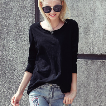 Loose European and American cotton female long-sleeved shirt bottoming T-shirt (Black long-sleeved)