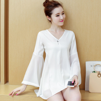 Loose Korean-style mid-length Top horn sleeve chiffon shirt (White long-sleeved) (White long-sleeved)