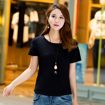 Loose simple cotton new Plus-sized Korean-style short sleeved t-shirt Short sleeve Top (Black) (Black)