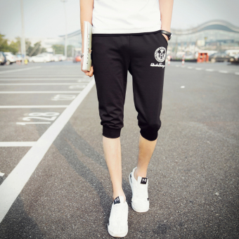 Male summer thin section men casual pants length pants (DK44-H-black)