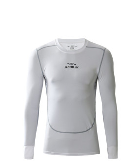 Men summer running compression long sleeve man pro T-shirts (White)