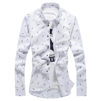 Men's Slim fit thin section flower floral-inch clothes tidelong-sleeved shirt (Black and white feather (thin section)) (Blackand white feather (thin section))