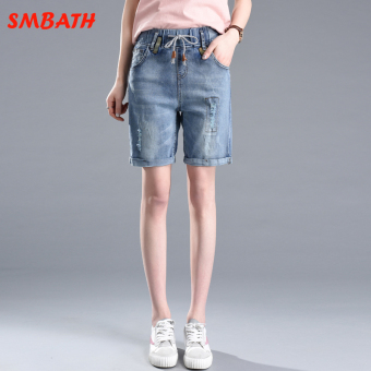 MM Korean-style female Plus-sized student shorts cowboy shorts (Light blue)