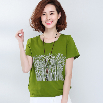 MM New style slimming printed T-shirt (Grass green)