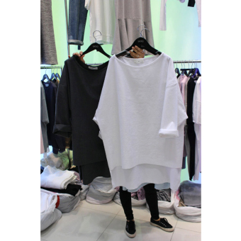 New style loose in the long section short-sleeved spring bottoming shirt T-shirt (Black) (Black)