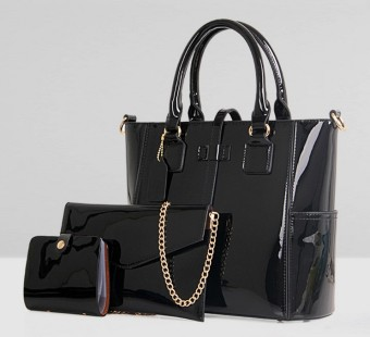 New style patent leather picture package three sets (Midnight black) (Midnight black)