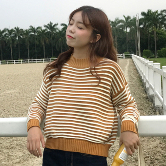 Qiudong Korean-style New style long-sleeved pullover short knit shirt striped sweater (Ginger yellow)