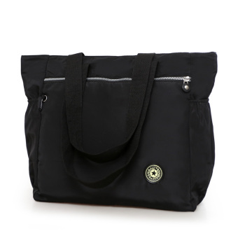 R172 artistic bag retro shoulder bag New style canvas bag (Black)