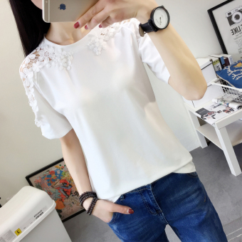 Summer New style off-the-shoulder hollow loose Korean-style short-sleeved t-shirt (White)