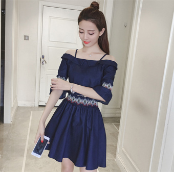 Two Piece Suit Female Summer 2017 New style Korean-style temperament waist horn sleeve a word shoulder off-the-shoulder denim dress