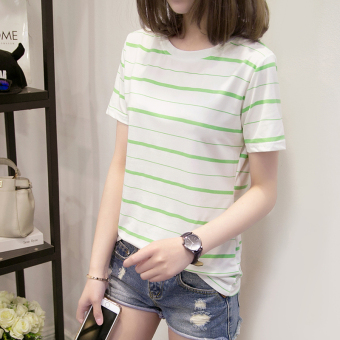 Ulzzang Korean-style striped female New style T-shirt (Green)
