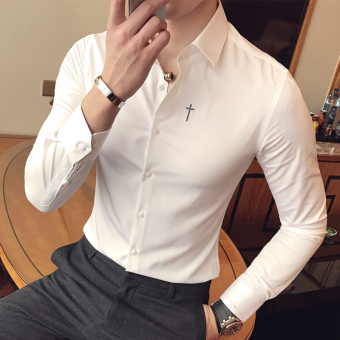 White shirt male long-sleeved Slim fit-Korean-style shirt wildStylish autumn New style handsome Korean ulzzang (White [crossframe])