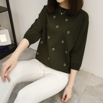 Women embroidered base shirt T-shirt (Army green) (Army green)