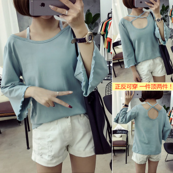 Women's Korean-style Cutout Round Neck Short Sleeve Solid Color Loose T-Shirt (723-light blue)