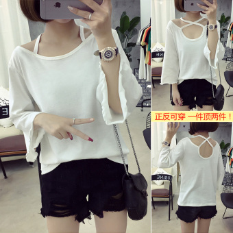 Women's Korean-style Cutout Round Neck Short Sleeve Solid Color Loose T-Shirt (723-white)