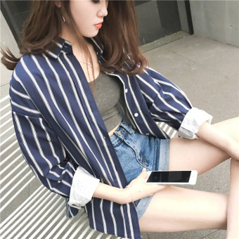 Women's Loose Striped Collar Long Sleeve Mid Length Shirt (Blue and white striped)