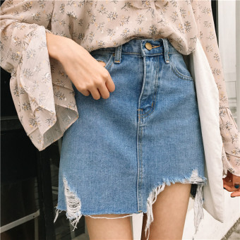 Women's Stylish High Waist Irregular Ripped Denim Mini Skirt - Light Blue