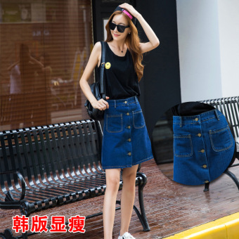 Xia Xinhan version single breasted word high waisted skirt denim dress (Stone blue pockets)