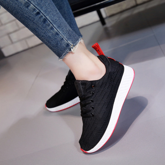 Yoga exercise shoes 2017 New style Korean-style breathable casual flat mesh shoes couple sports shoes women running shoes (Black)