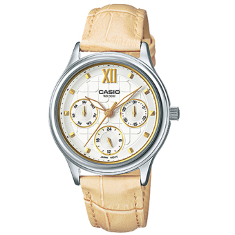 Casio Women's Beige Leather Strap Watch LTPE306L-7A