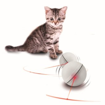 Interactive Electronic LED Light Flash Rolling Ball Pet Cat Toys(White)