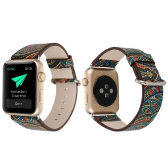 Luxury Leather Canvas Watch band Wrist strap For Apple Watch 42mm -intl