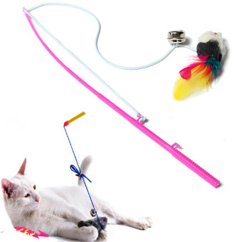 Pet Cat Kitten Bell Playing Toy Wand Fun Funny Dangle False Faux Mouse Rat Rod