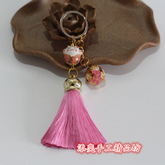 Tassel lucky cat key Buckle