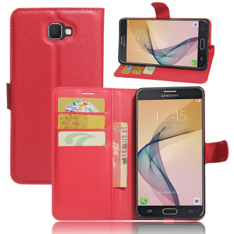 PU Leather Wallet Case Cover for Samsung Galaxy On7 2016 Samsung Galaxy J7 Prime Red intl