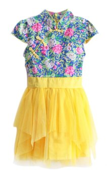 Kids chinese blue and yellow porcelain dress clothing for Blue and yellow dress shirt