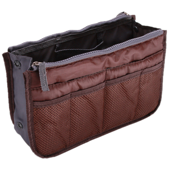 Hang Qiao Travel Cosmetic Makeup Bag Zipper Handbag Organizer Coffee