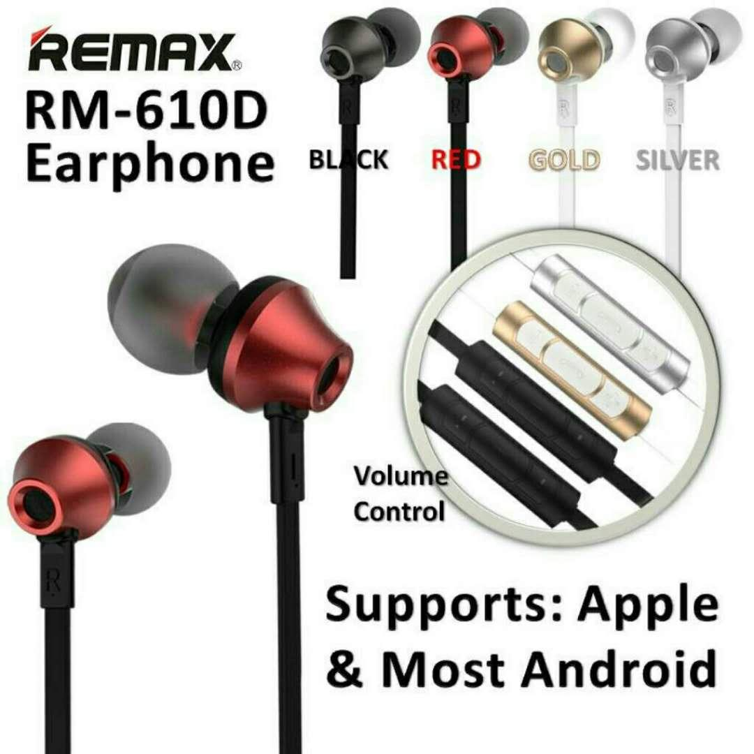 Stereo Bass Headphone Handsfree Headset Earphone - RM005 . Source · REMAX Earphones .