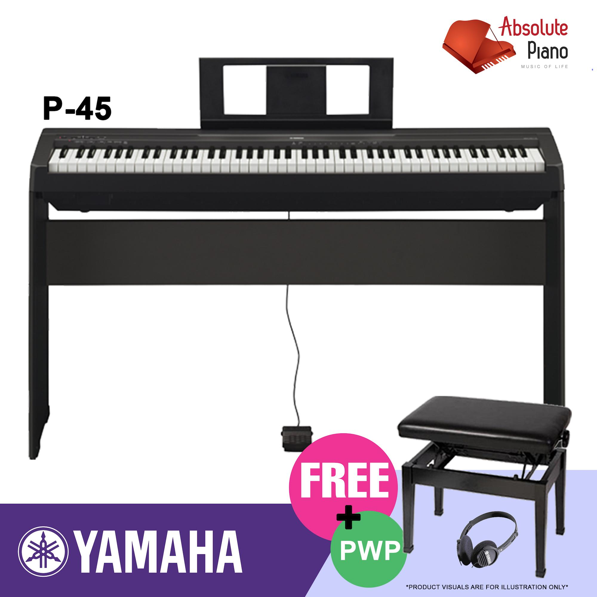 Brand New Yamaha P 45 Digital Piano Black With Stand Adjustable Bench Dust Cover