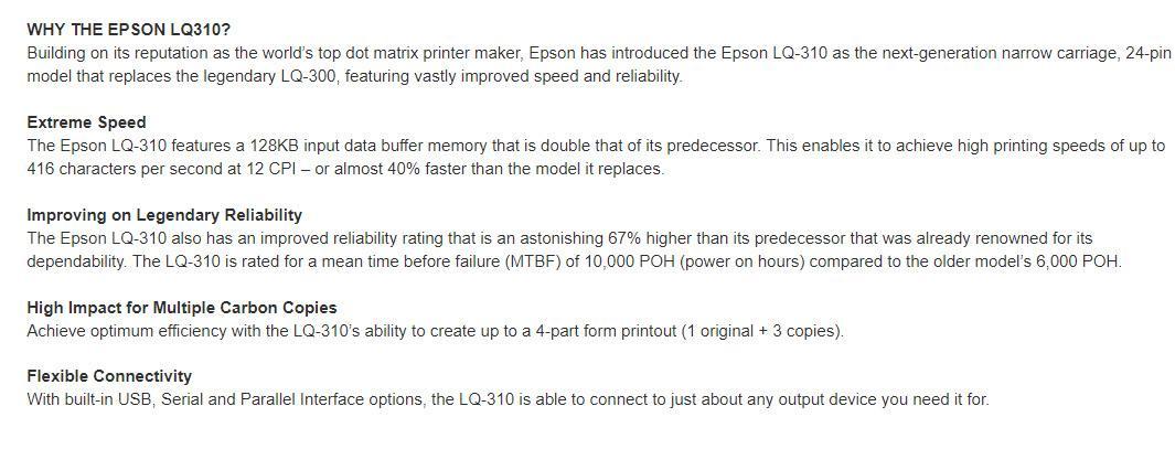 Specifications Of Epson LQ 310 Dot Matrix Printer LQ310