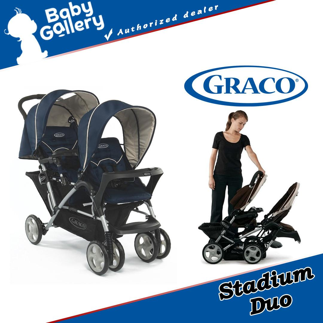 Graco Stadium Duo Oxford Twin Strollers Peacoat Singapore Chicco Car Seat Travel Bag With Wheels New