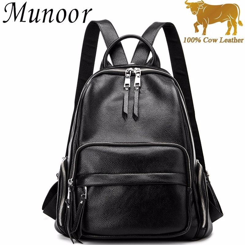 Munoor Women High Quality 100% Genuine Cow Leather Backpack Casual School Girl Bags Shoulder Bag