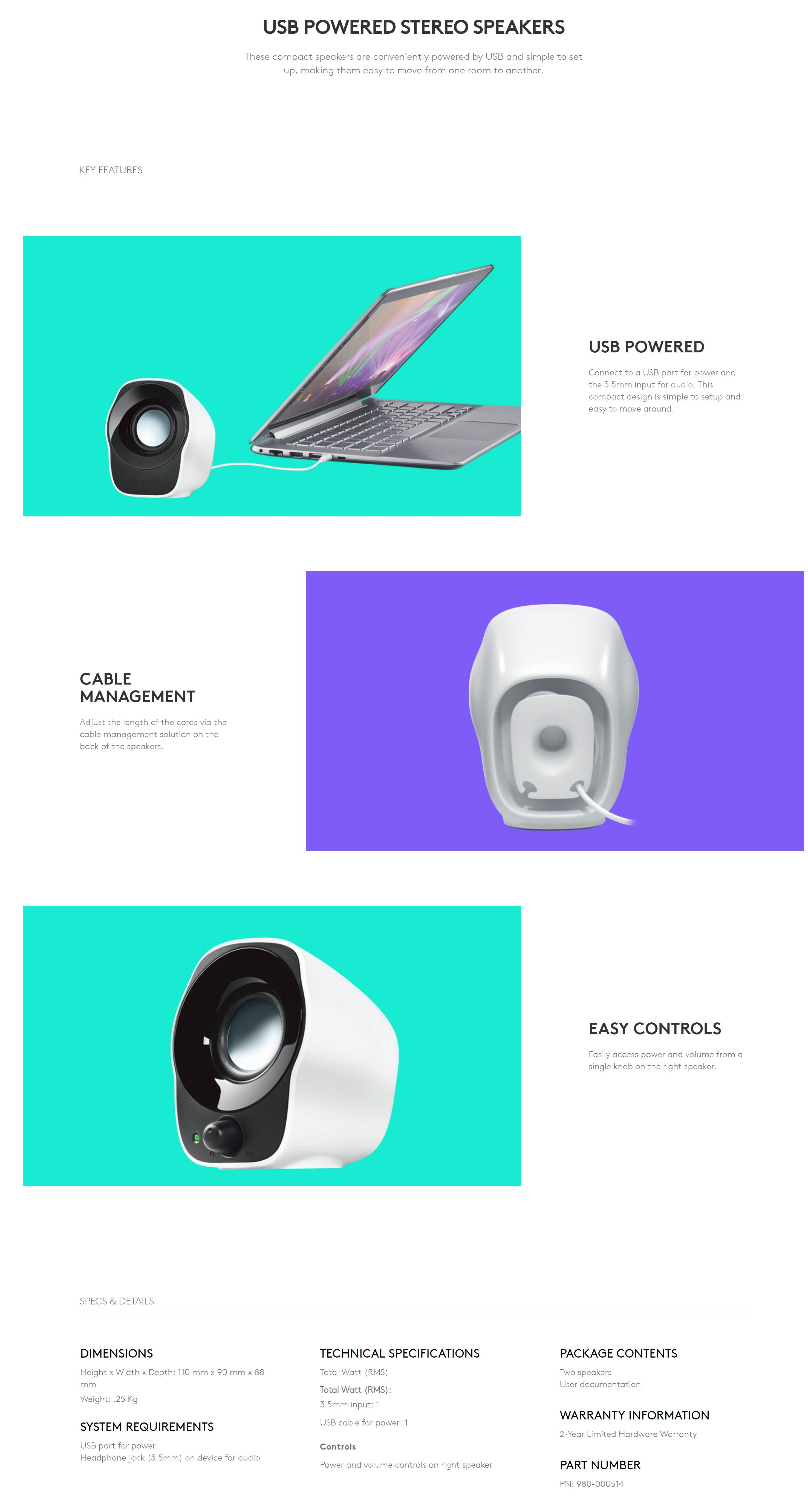 Logitech Mini Stereo Speakers Z120 Singapore Specifications Of
