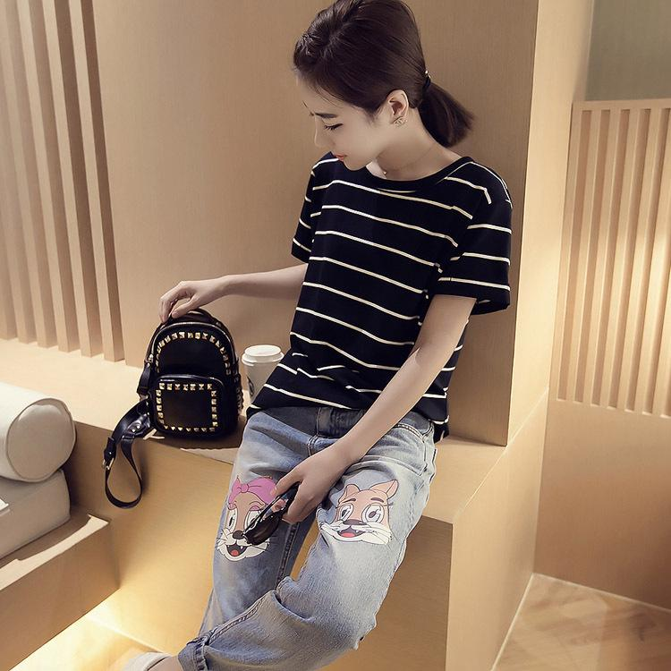 Korean-style New style short sleeved striped T-shirt