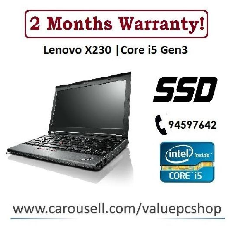 SSD Core i5 Gen3: Lenovo X230 / 4GB RAM/ 32GB SSD + 320GB HDD (Refurbished Laptop notebook)