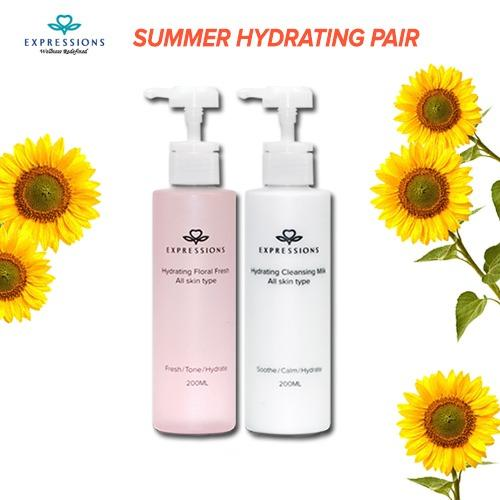 Expressions Summer Hydrating Pair [Hydrating Milk Cleanser (200ml) + Floral Fresh Toner (200ml)]  Moisutrizing  Hydrating  Refreshing